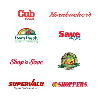 Image of SUPERVALU brand logos.