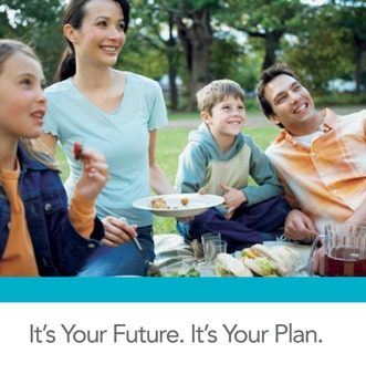 Image: Family of four smiling and having a picnic in the park. Text:It's Your Future. It's Your Plan.
